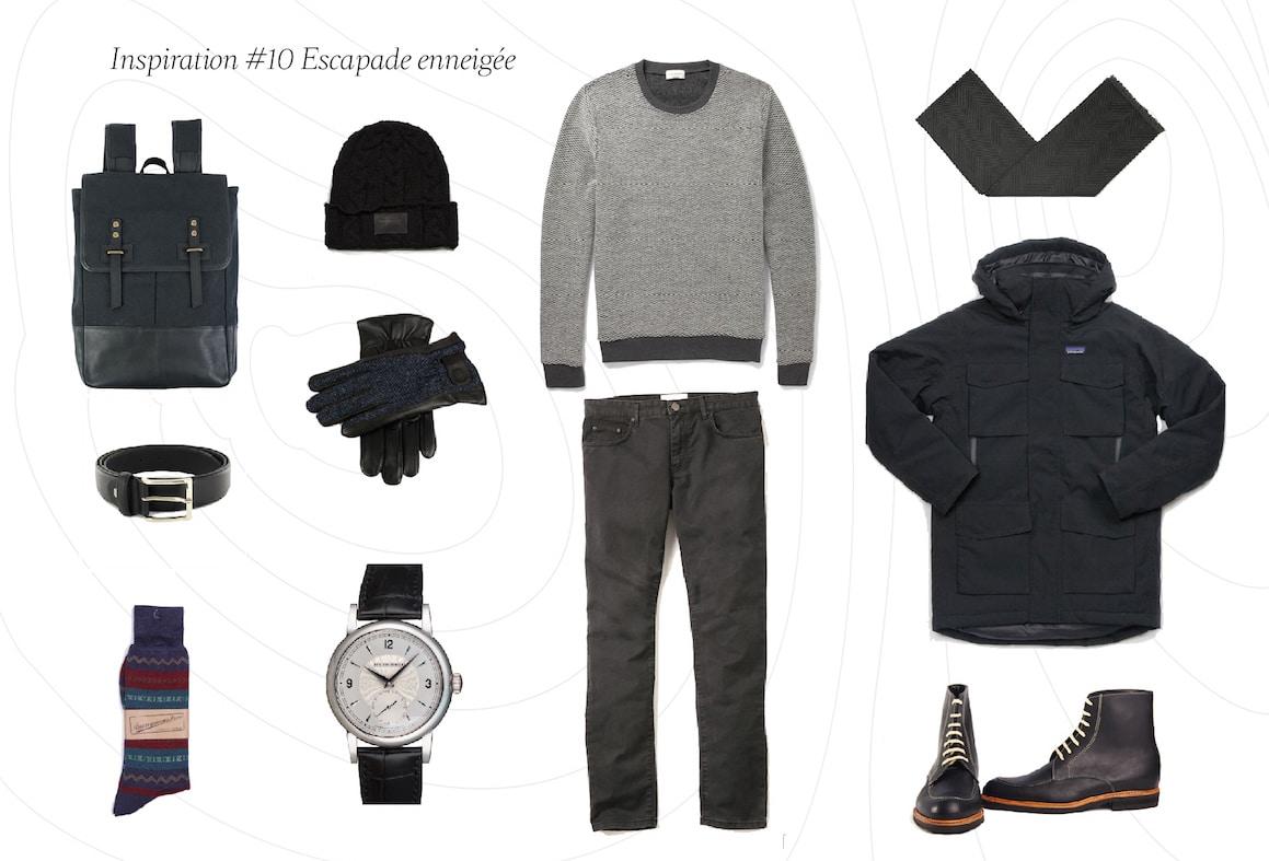 Inspiration du jour 10 - Inspiration #10: Tenue homme pour une escapade enneigée