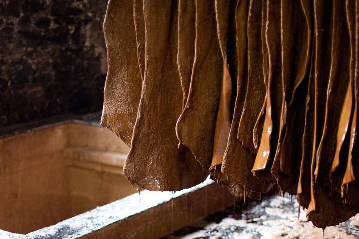 Semelles en cuir: croupon au séchage