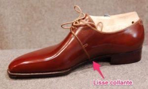 chaussures faites main lisse collante